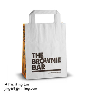 White kraft paper packaging bag with flat handle custom print shopping party bag