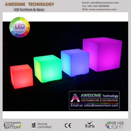 verious sizes led glow acrylic cube seat (cb400)