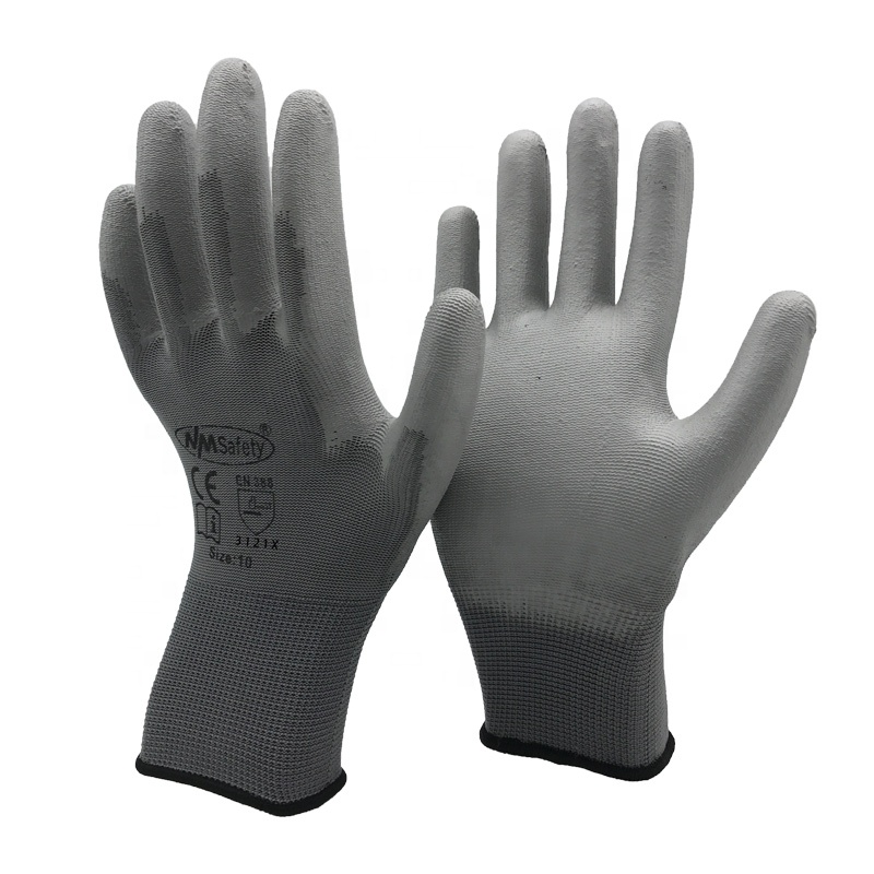 NMSAFETY 12 Pairs Grey PU palm coating safety work <strong>glove</strong>