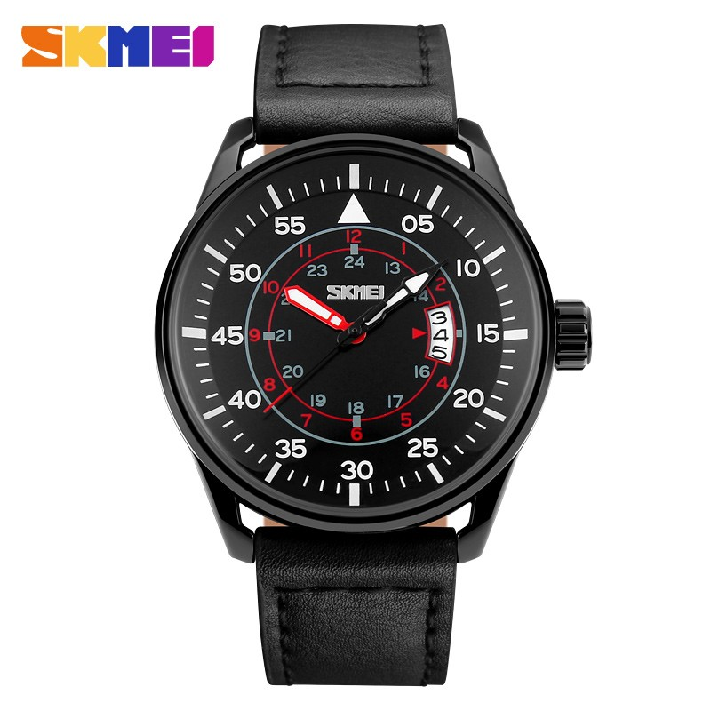9b66e66d5 2017 New SKMEI Brand Men fashion sports Watches male analog quartz  waterproof auto date Wristwatches black brown leather clock