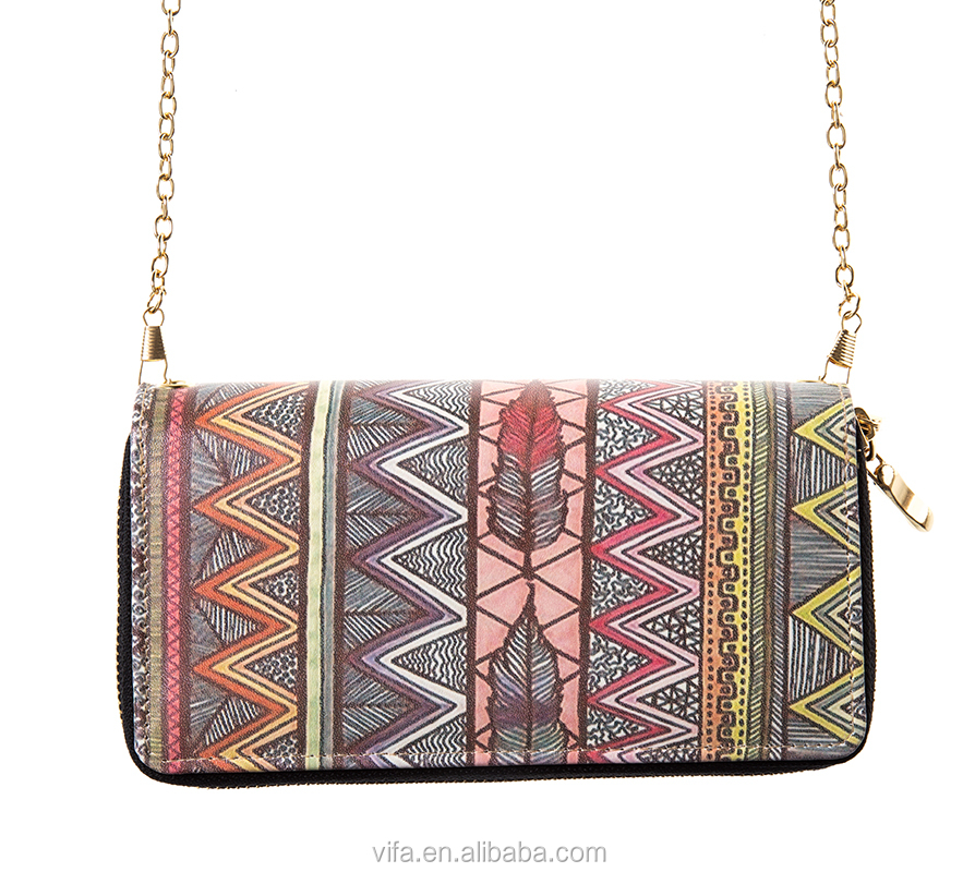 VIFA Bohemian Aztec Printed PU Leather Ladys Fashion <strong>Wallet</strong> With Crossbody Strap