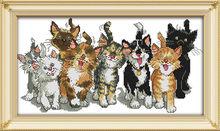 DMC набор для рукоделия для кошек, Набор для вышивки крестом, ткань для ручной работы 14CT & 11CT, наборы узоров для вышивки(Китай)
