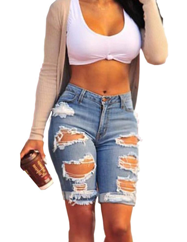 Haola Womens Ripped Distressed Hole Short Jeans Midi Stretchy Juniors Midi Pants