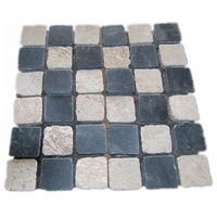 DIY Chess Design Black and Cream Limestone Mesh Back Paving Stones Travertine Mosaic Pavement Tile Outdoor