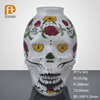 Hand painting high quality unique designs skull shaped flat round bottom large glass vase for Halloween Gift