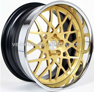 Vesteon hot selling aftermarket wheel with gold machined lip