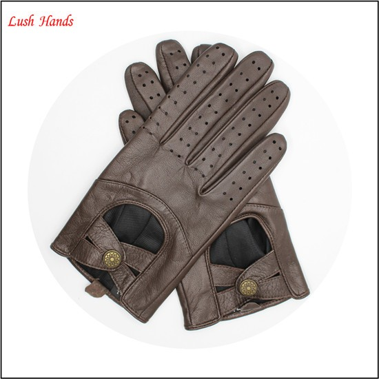 wholesale women 's sheepskin leather Dark brown driving gloves with button