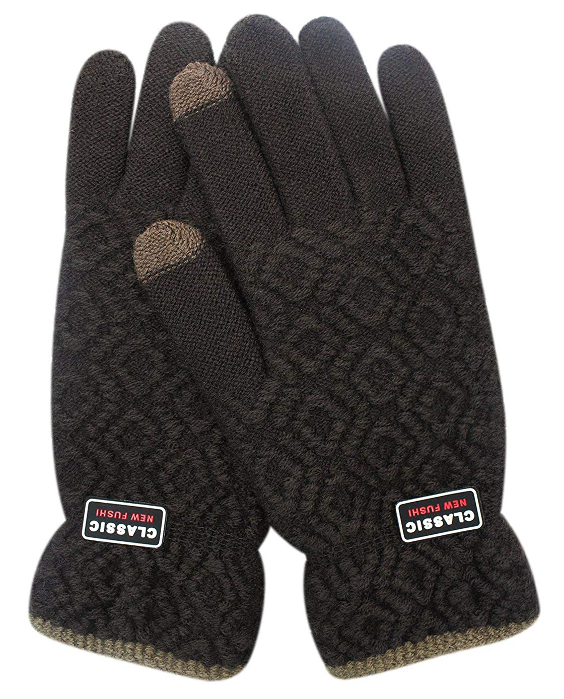 ce5f1e1b49bda Get Quotations · Mens Thick Knitted Wool Winter Gloves Warm Soft Mittens  with Touchscreen Fingers