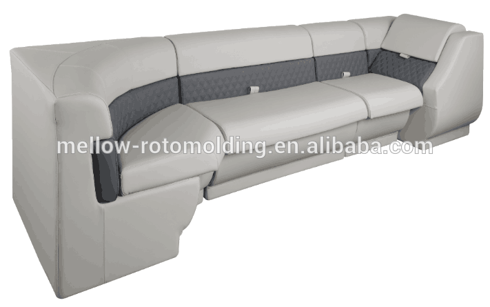 Rotational molded plastic boat seat with upholstery