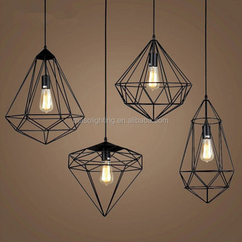 Modern industrial led pendant lampoutdoor geometric metal cage modern industrial led pendant lamp outdoor geometric metal cage chandelier aloadofball Choice Image