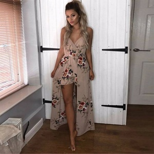 Summer dresses for Women beach wear Floral Print Sexy Deep V Neck Dresses Costume Female Clothes Plus Size