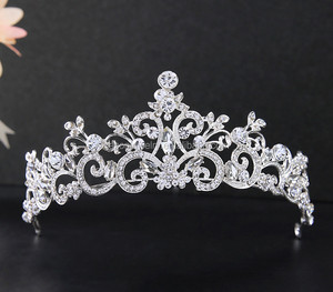 High quality for girl wedding bridal hair accessories clear rhinestones shiny tiara and bridal crown