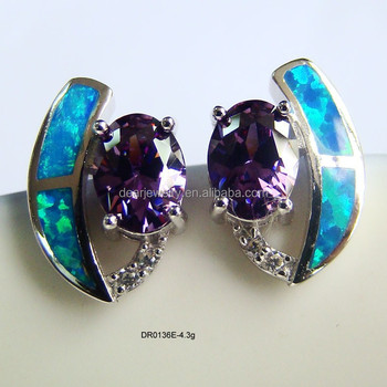 Blue Fire Opal Stone Fashion Opal Designer Earring JewelryPurple Cz