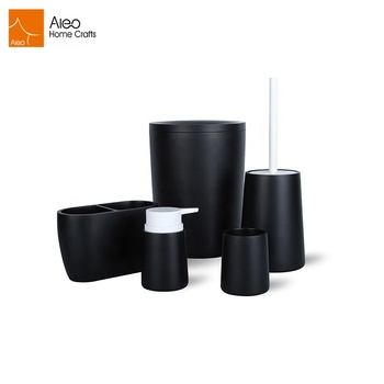 For Europe 5 pcs black bathroom accessory set with waste bin toothbrush holder