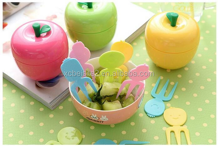 CY046 Eco-friendly Colorful Apple Shape Plastic Fruit Fork Set Stand Container Dessert Salad Forks for Kitchen Table Accessories