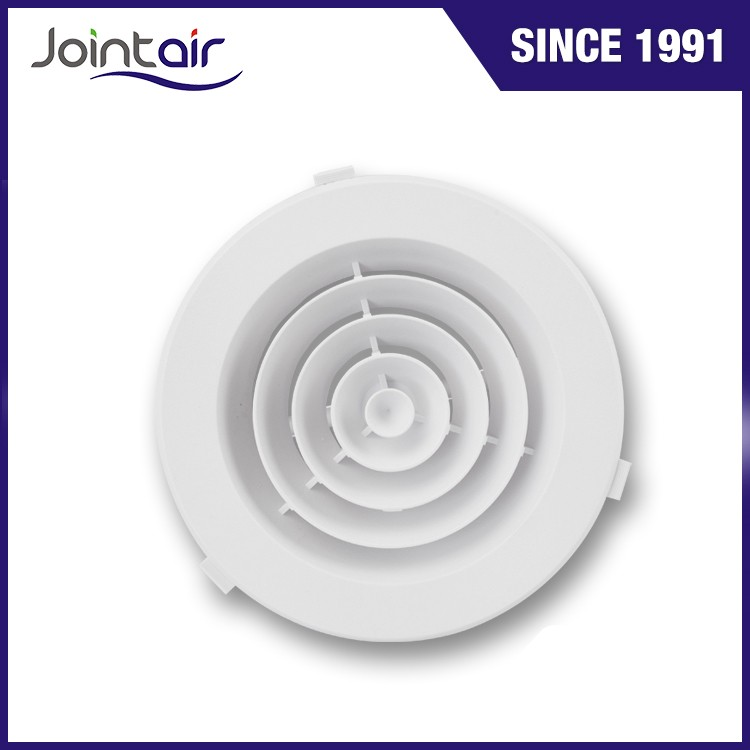 Decorative Wall Direct Flow Plastic Round Downjet Air Ceiling Vent Covers With Butterfly Damper