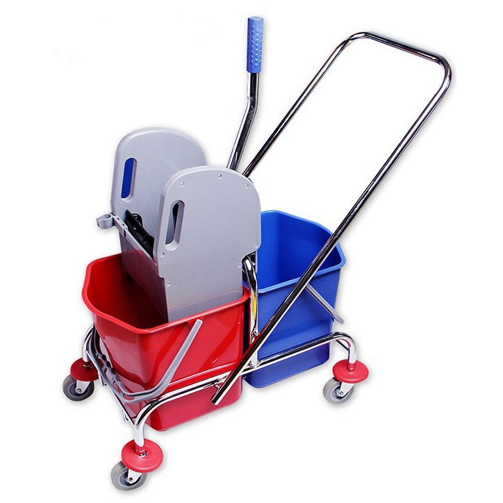 34L cleaning trolley double bucket with wringer mop wringer