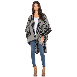 Women geometric oversized knit cardigan sweater poncho sweater