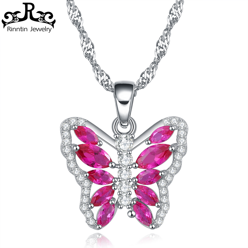 Rinntin Charming Red Ruby Cubic Zirconia Butterfly Quartz Necklace Lead & Nickel Free Silver Color 45cm Chain Necklaces RIN86