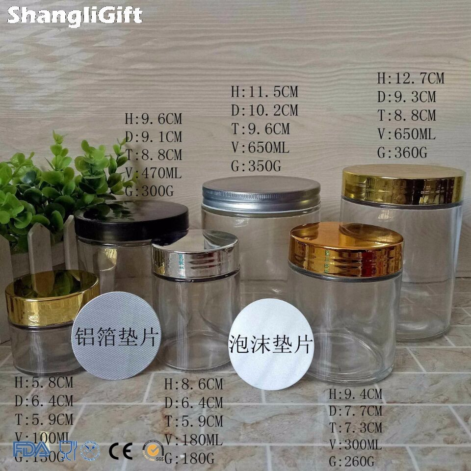 4oz 6oz 8oz 16oz 20oz Transparent Glass Jars With Shiny Cap
