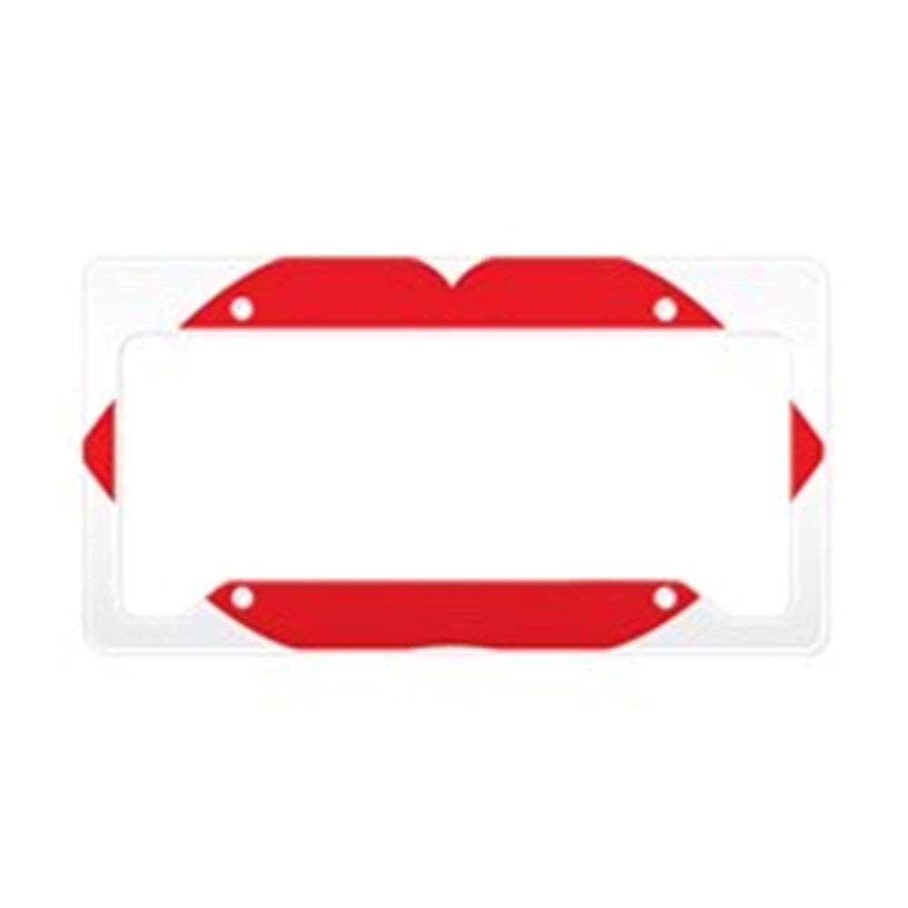 RED LIPS KISS Metal License Plate Frame Tag Holder