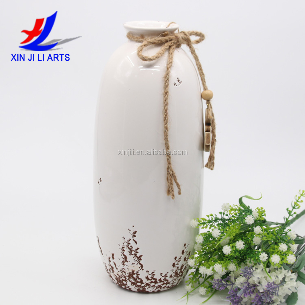 Dehua thin tall flower pot daily use ceramics vase for home decor