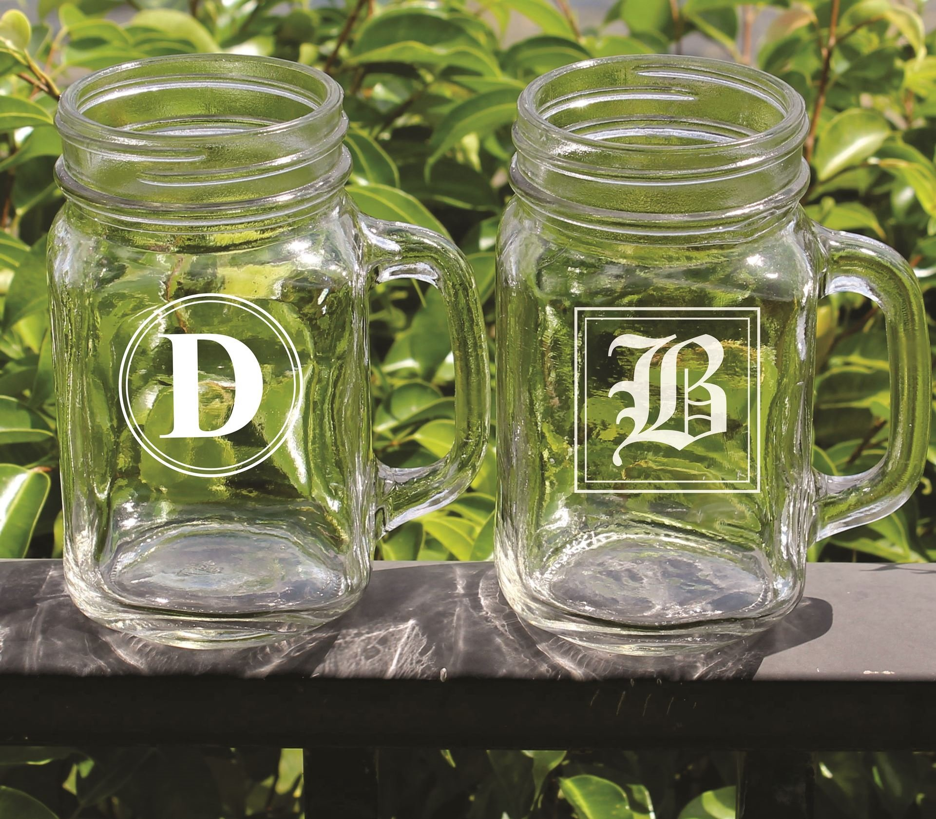 Personalized Mason Jar with Initial - Wedding Party Groomsmen Bridesmaid Housewarming Gifts - Custom Engraved Monogrammed Drinkware Glassware Barware Etched for Free