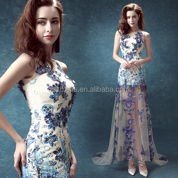 Blue engagement party club show wedding dress