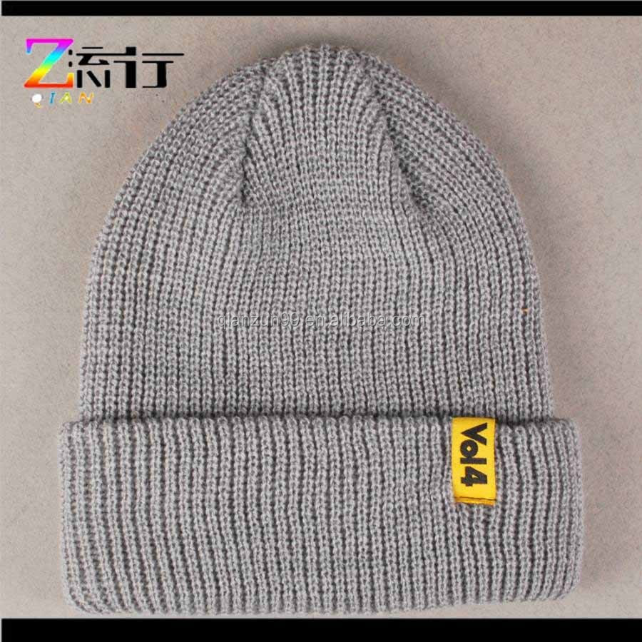 Customised plain beanies hat with custom label/football team beanie hat