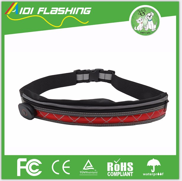 Polyester Sport Belt Fashion Reflective Running Waisr Bag LED Light Waist Bag