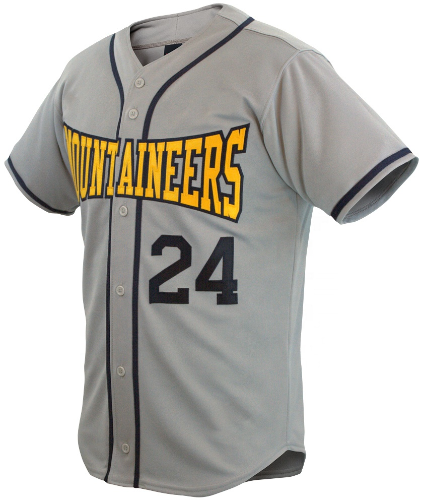 Groothandel 100% polyester baseball uniform witte knop up team honkbal jerseys met borduurwerk patch