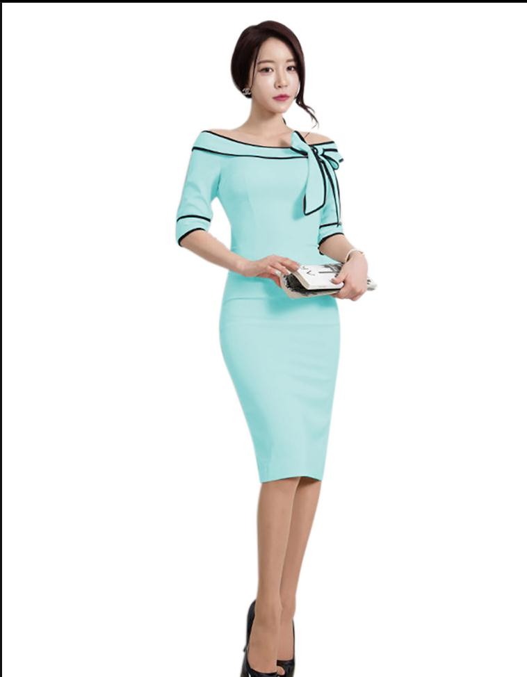 K2779a Latest Autumn Bodycon Office Wear Dress Long Formal For Las Lady Pictures
