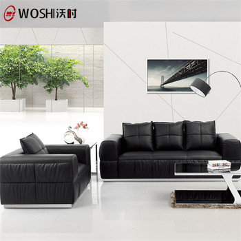 ISO Leather Modern Sofa Set 5 Seater Designs 2018,Black Sofa Set With  Metallic Leg