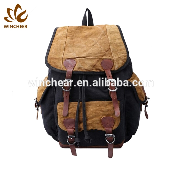 High quality shoulder strap comfortable and adjustable jute vintage canvas genuine leather backpack bag