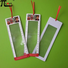 Low price with high quality promotional gift 190*65mm pvc ribbon magnifier glass bookmark