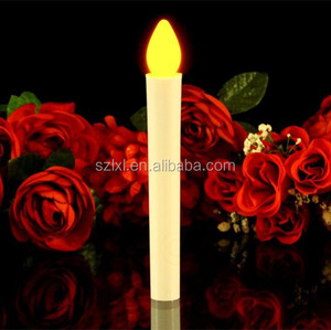 2xAAA Battery operated LED Taper Candle /LED Candle Stick for Church/ Hand Hold LED Candle with Yellow Flicker Light