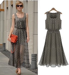 Latest western ladies sleeveless strapless dress fashion summer wave point lady chiffon lady dresses