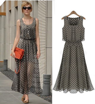 24ee03af6da8c Latest western ladies sleeveless strapless dress fashion summer wave point  lady chiffon lady dresses
