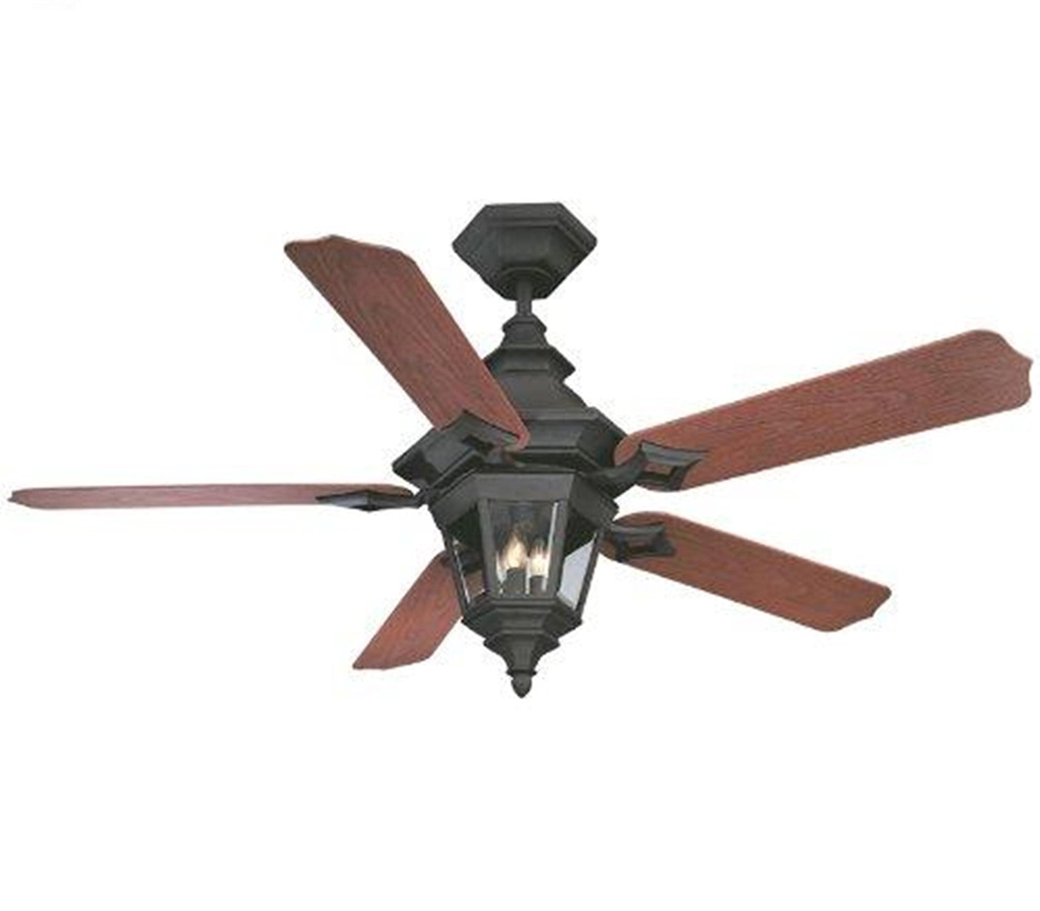 Savoy House 52-515-5RO-24 Chatsworth 52-Inch Ceiling Fan, Horseshoe Black Finish and Rosewood Blades with an Integrated Clear Beveled Light Kit