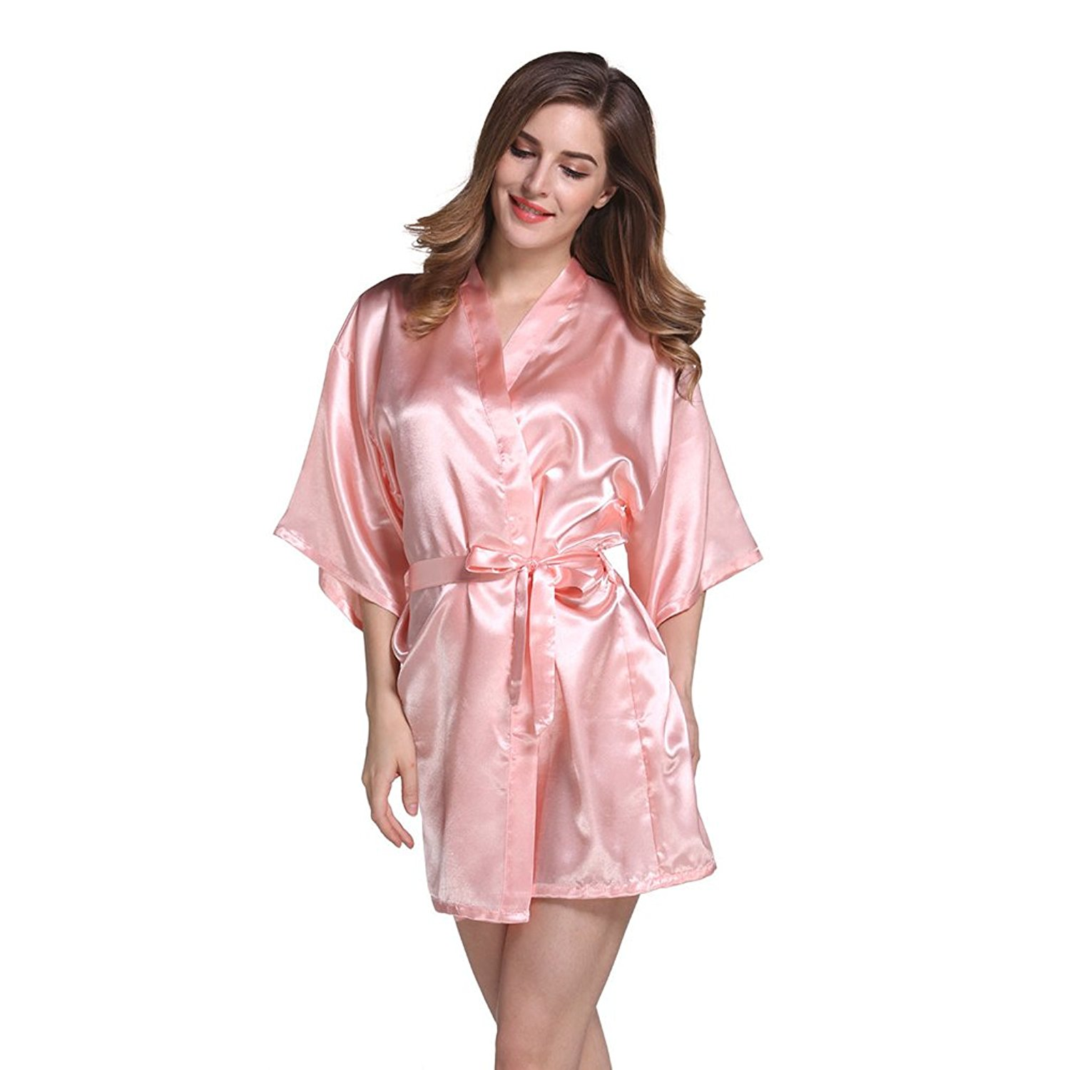 c88b13294 Get Quotations · Amurleopard Womens Kimono Robe Knee Length Bridal Lingerie  Sleepwear Pure Colour Short Satin Robe