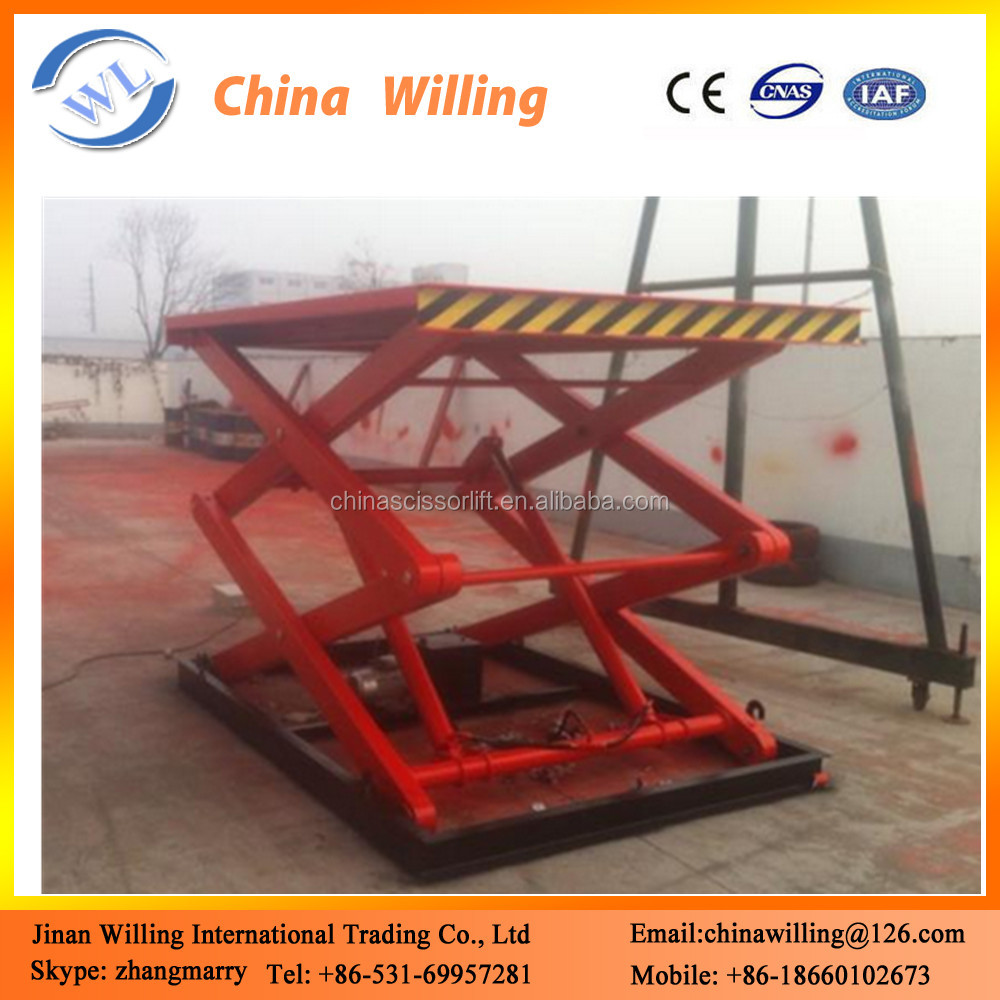 Jinan Willing top sale 5 ton hydraulic platform lift/scissor lift 10m fixed