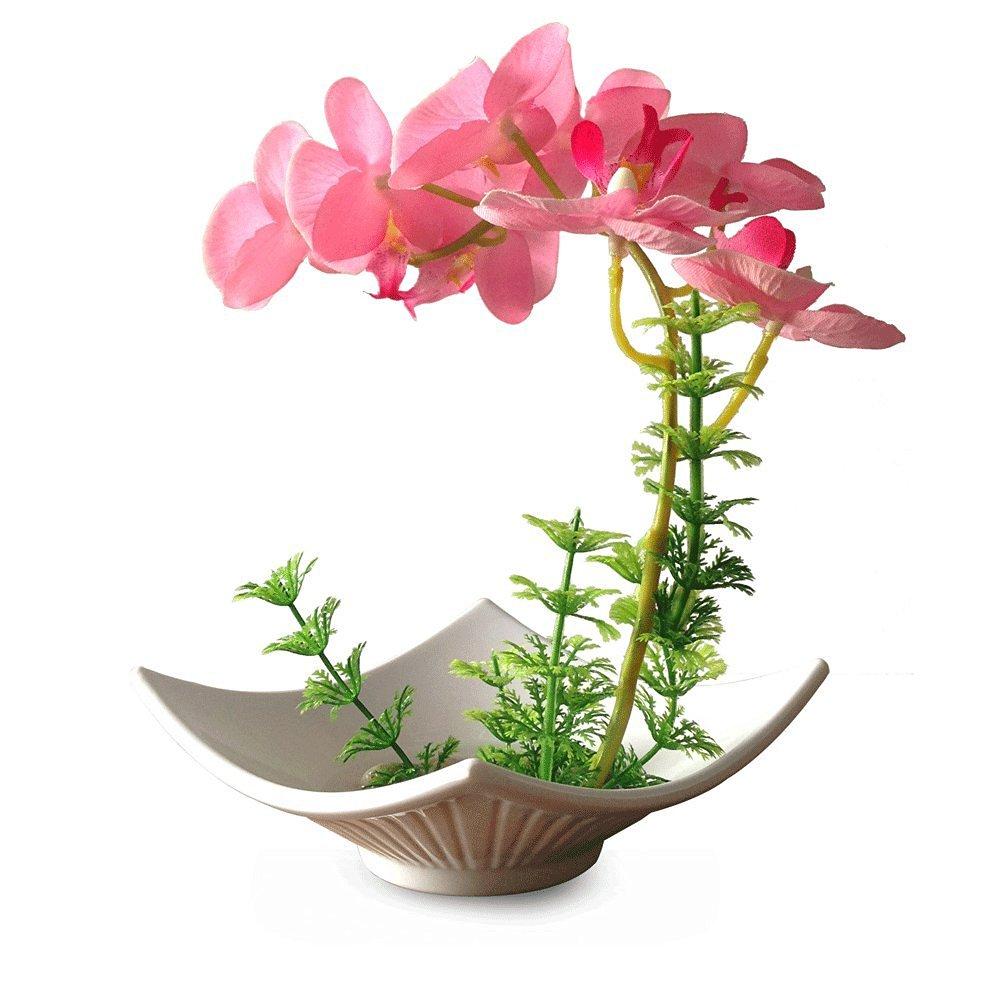 Artificial Silk Flower Decorative Silk Flower Arrangement with Ceramic Vase, Butterfly Orchid (Drunkened Concubine) (color 3)