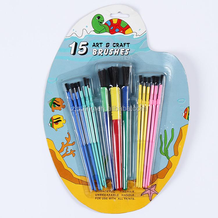 15pcs different size high quality artist craft plastic handle brush set