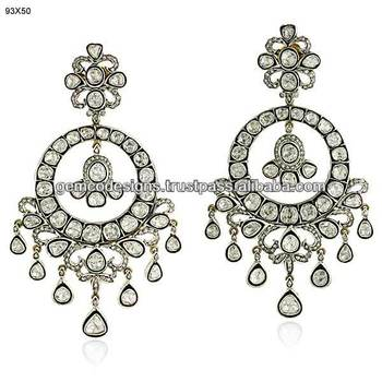 Uncut Diamond Chandelier Earrings,Handmade Earrings Gold Jewelry ...