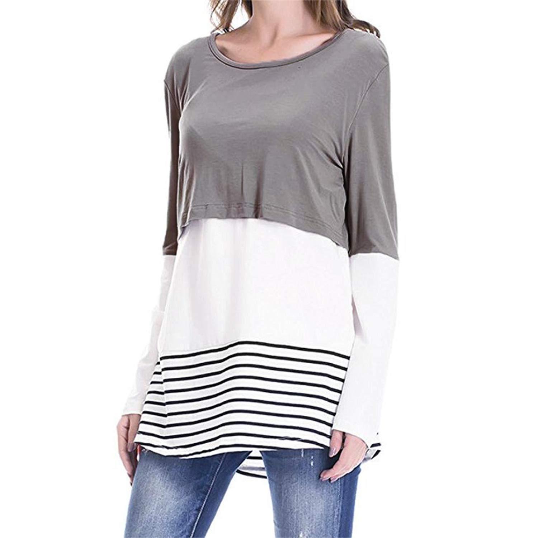 6d85b1d3d91 Get Quotations · Dainzuy Nursing Tops, Women's Breastfeeding and Nursing  Long Sleeves Lace Striped Shirt Tops Blouse