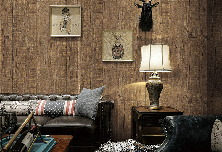 wholesale vinyl 3d effect wood wallpaper