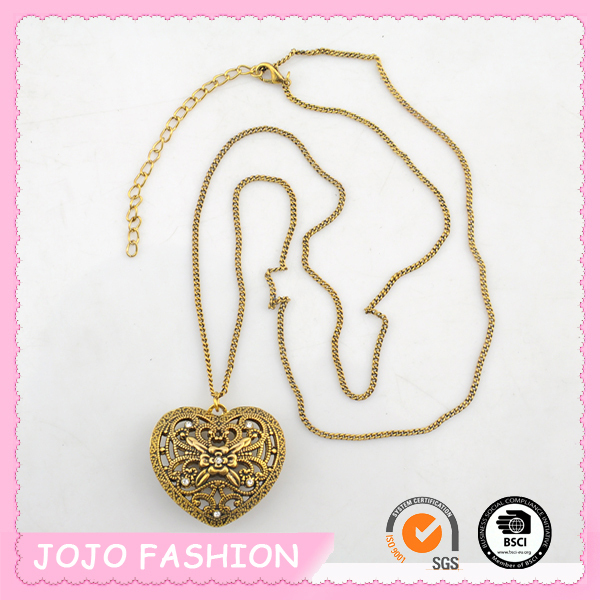 Hot Sale Gold Long Thin Chain Necklace with Hollow Heart Pendant/