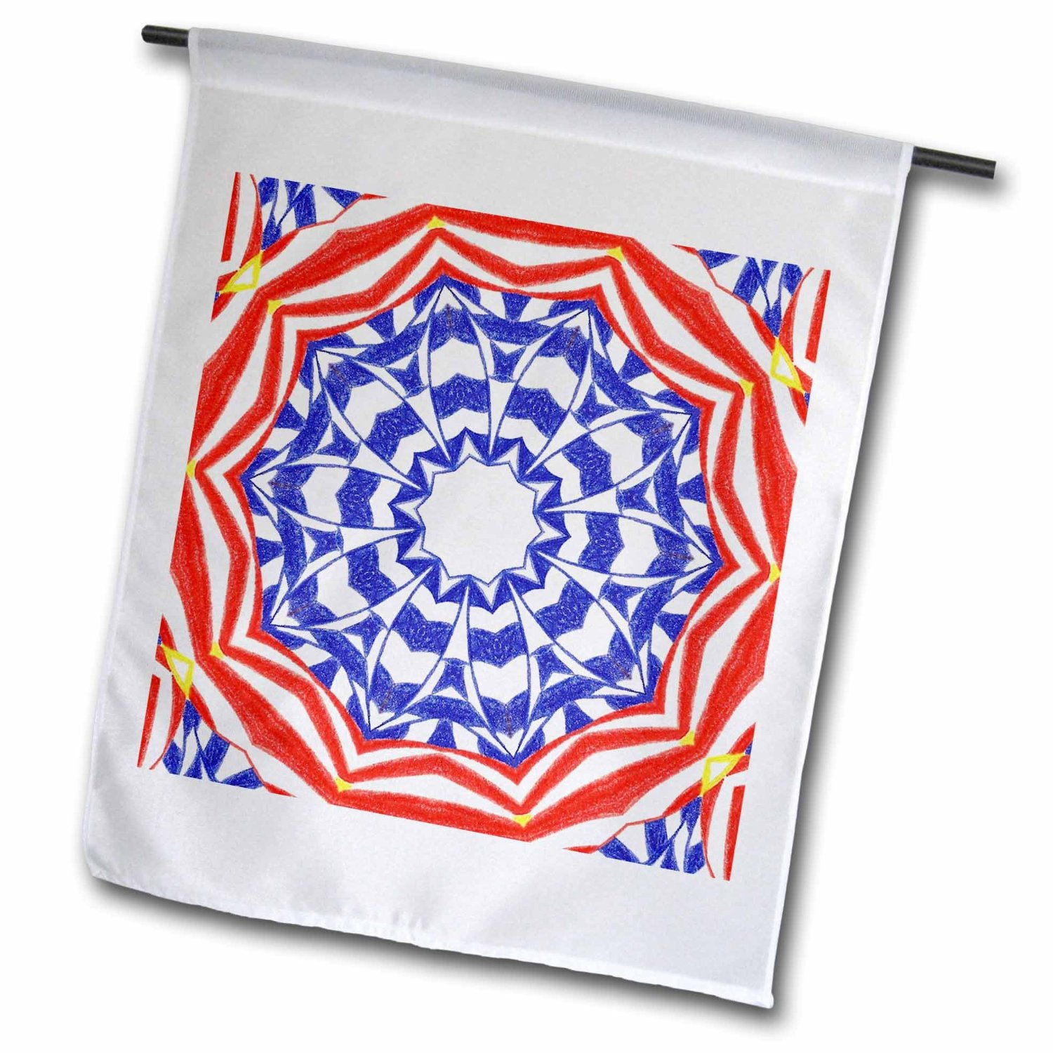 CherylsArt Kaleidoscope Patterns - Red White Blue Patriotic Flower Kaleidoscope Pattern - 18 x 27 inch Garden Flag (fl_39479_2)
