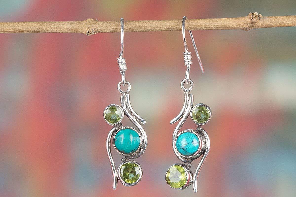 Turquoise Earring, Gypsy Earring, Green Peridot Stone, Birthstone Earring, Yoga Earring, Unique Earring, Gift Idea, Statement Earring, Sterling Silver, Promise Earring, Healing Stone, Gemstone Earring