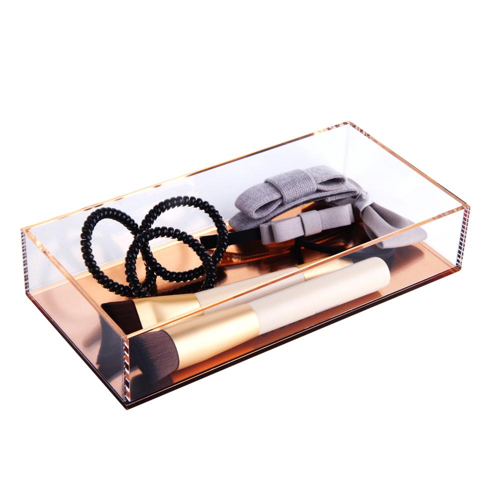 Casa de banho acrílica organizador caixas de armazenamento caixas de pequenas coisas com base para bobby pin faixa de cabelo de ouro